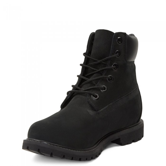 Женские ботинки Timberland 6-Inch Classic Premium Nubuck Waterproof Black (Мех) 10061-006