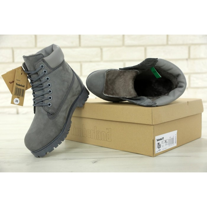 Мужские ботинки Timberland 6-Inch Classic Premium Nubuck Waterproof Gray (Мех) 10061-015
