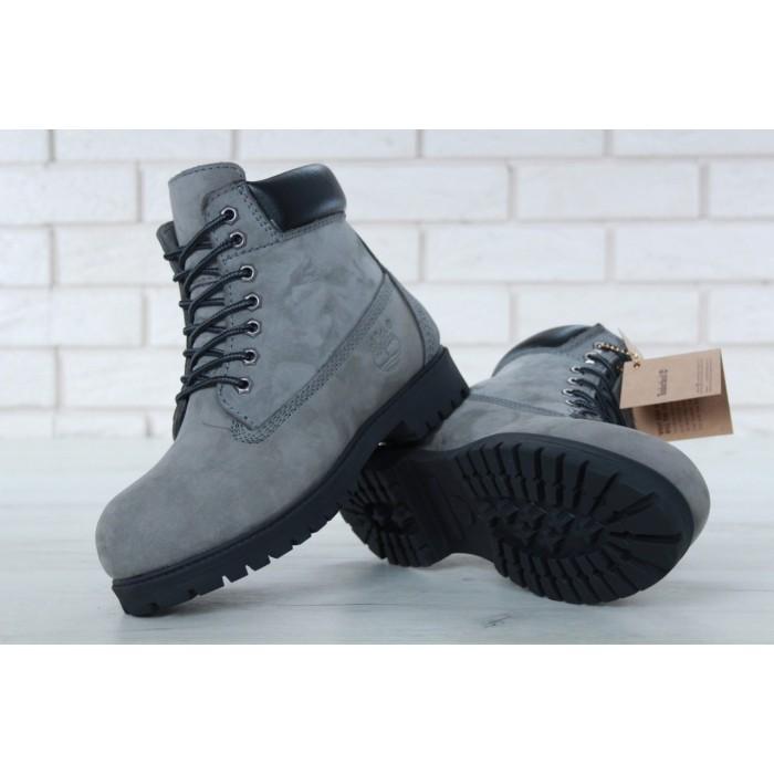 Мужские ботинки Timberland 6-Inch Classic Premium Nubuck Waterproof Gray (Мех) 10061-016