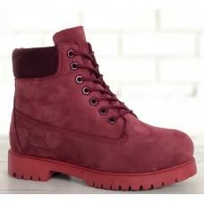 Женские ботинки Timberland 6-Inch Classic Premium Nubuck Waterproof Crimson (Мех) 10061-018