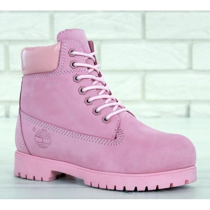 Женские ботинки Timberland 6-Inch Premium Nubuck Waterproof Pink (Мех) 10061-019