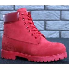 Женские ботинки Timberland 6-Inch Classic Premium Nubuck Waterproof Red (Мех) 10061-022